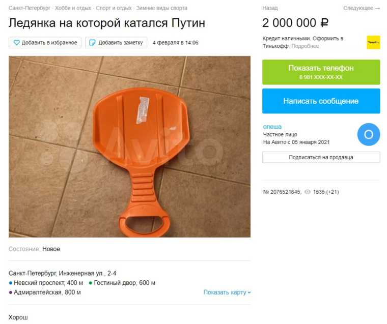 В Санкт-Петербурге продают «ледянку Путина» за 2 миллиона рублей