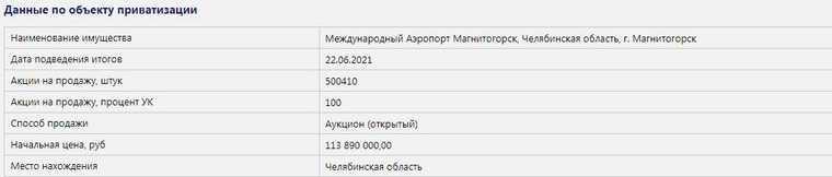 Росимущество выставило на продажу аэропорт Магнитогорска. Скрин